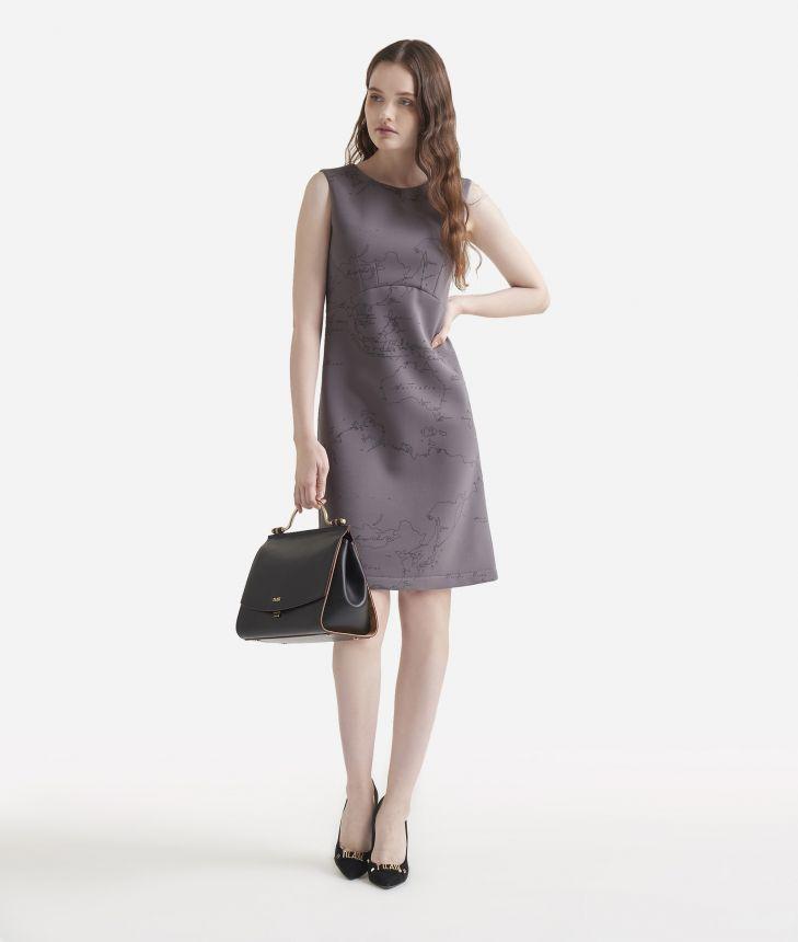 Sleeveless dress in Geo Flock print scuba,front