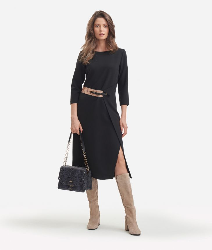 Asymmetrical dress in stretch fabric,front