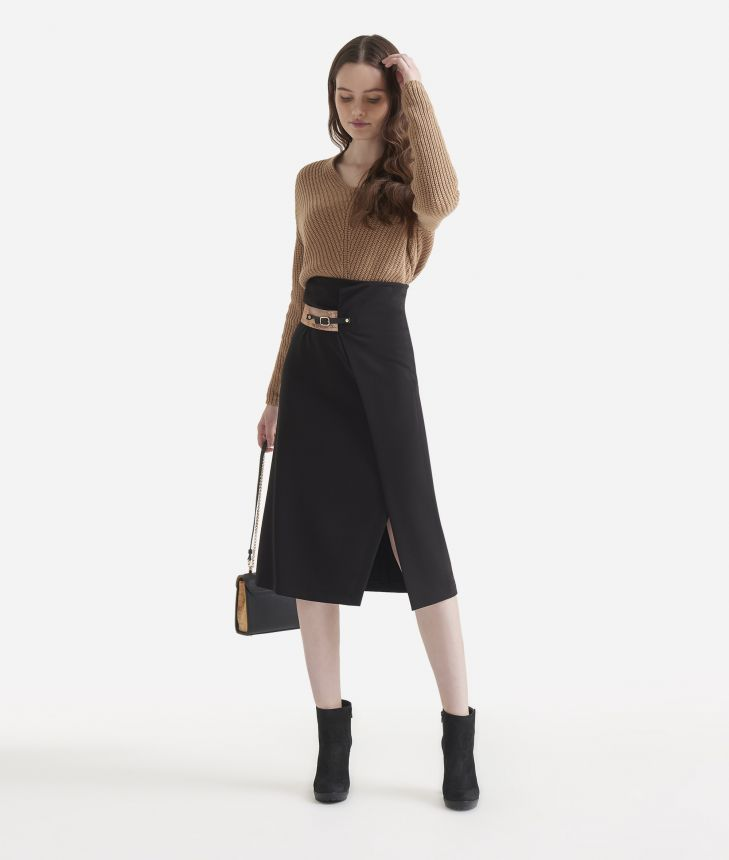 Asymmetrical skirt in stretch fabric,front