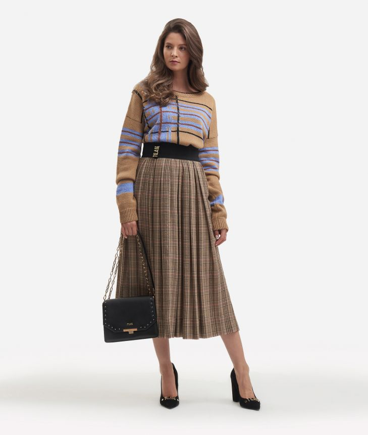 Pleated skirt with Galles print,front