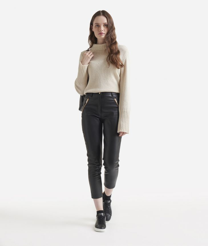 Eco-leather skinny trousers Black,front