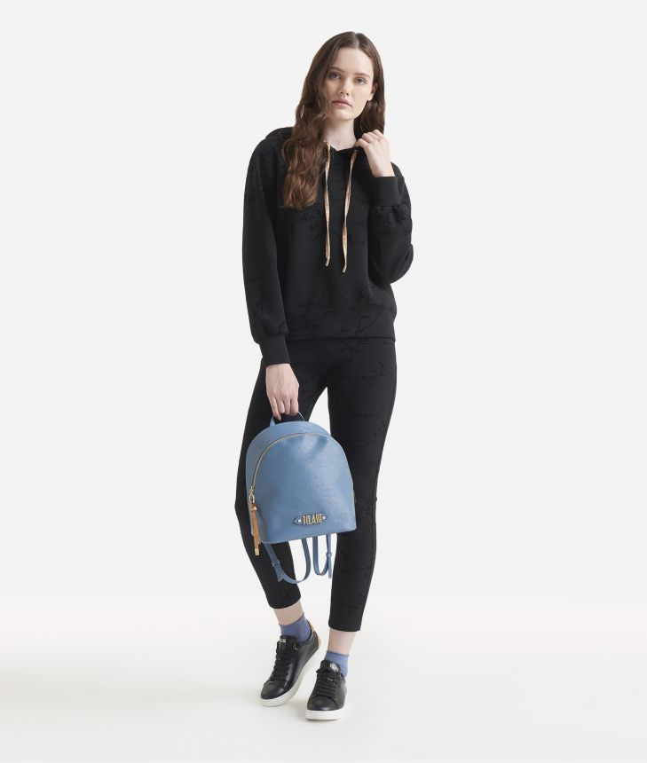 Scuba hooded sweater with Geo Flock print Black,front