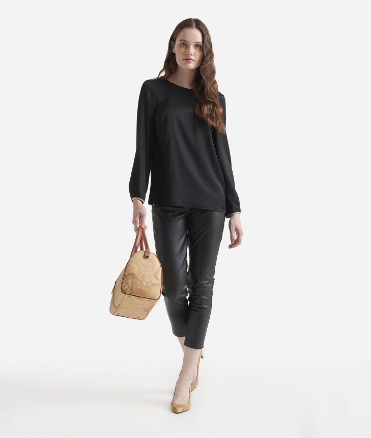 Basic charmouse viscose fabric blouse Black,front