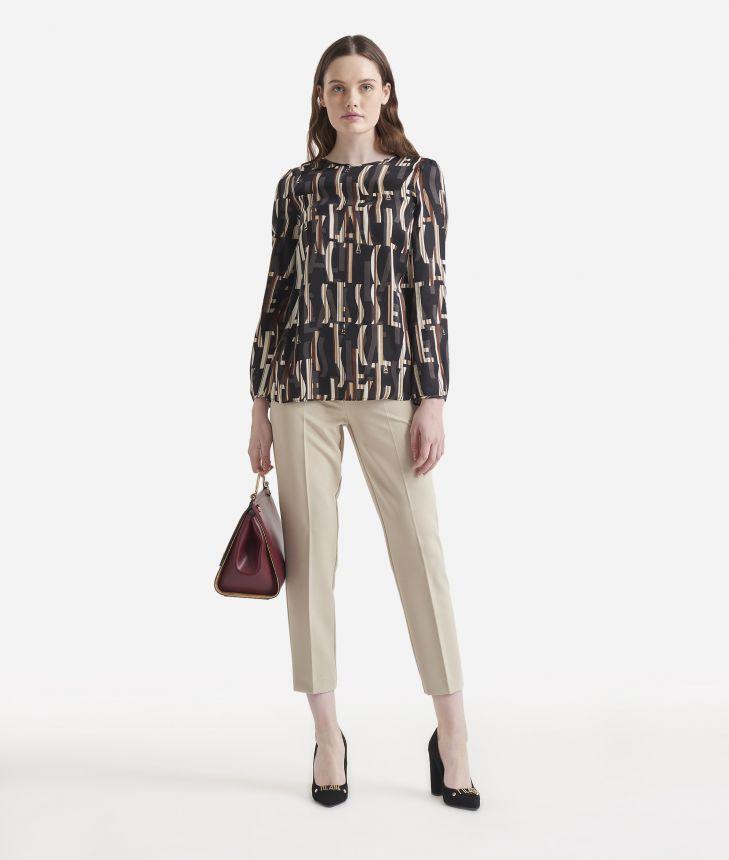 Lettering print viscose blouse Black,front