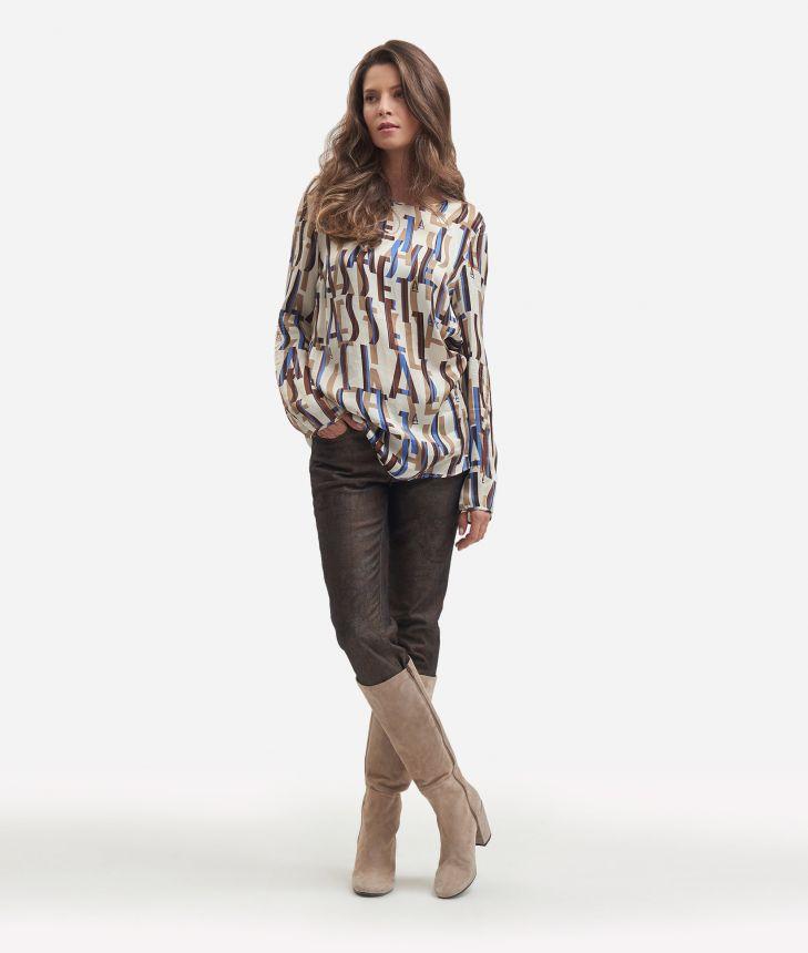 Lettering print viscose blouse Beige,front