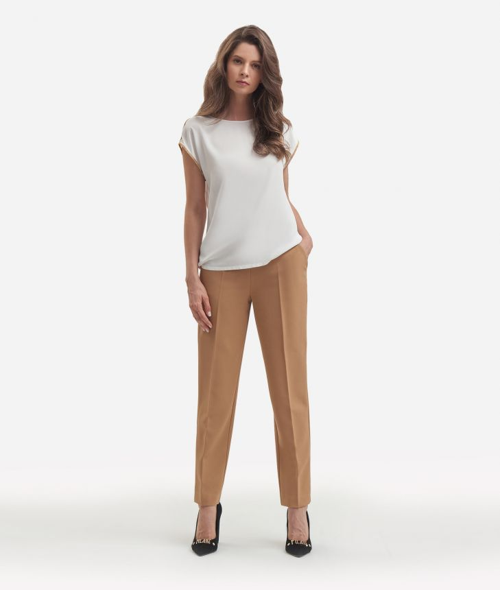 Crepe de chine basic top White,front