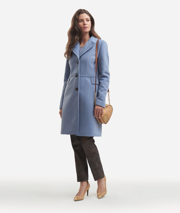 Velour basic coat Light Blue,front