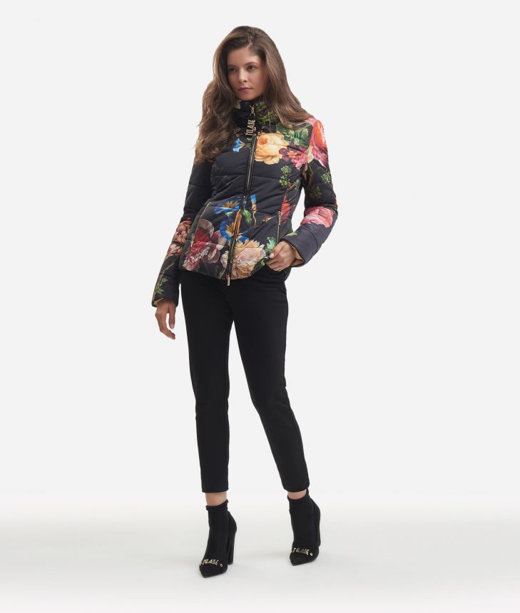 Basic padded jacket with baroque print Black,front