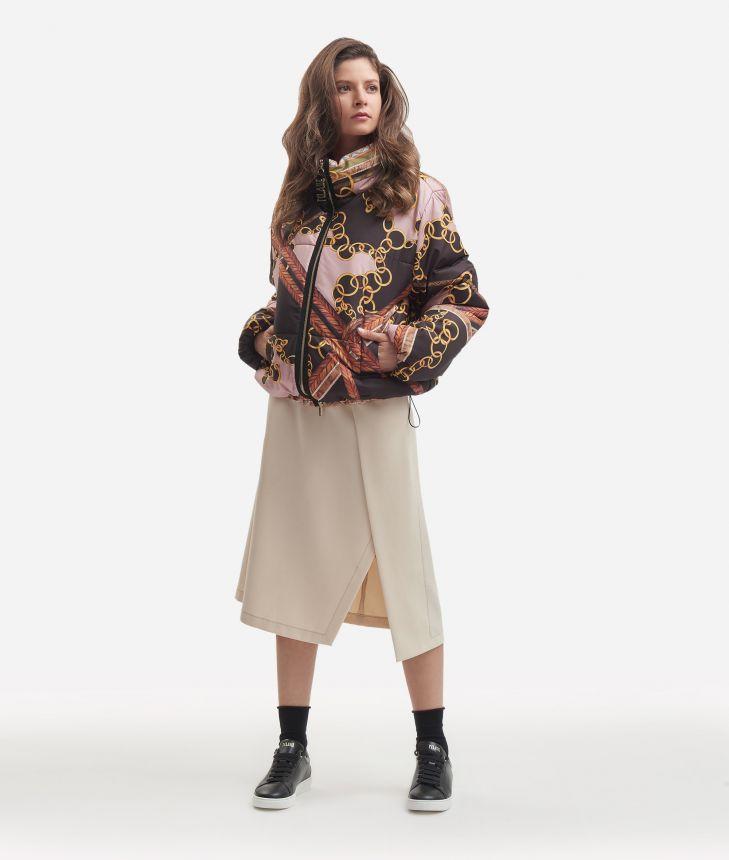 Oversize nylon padded jacket Black,front