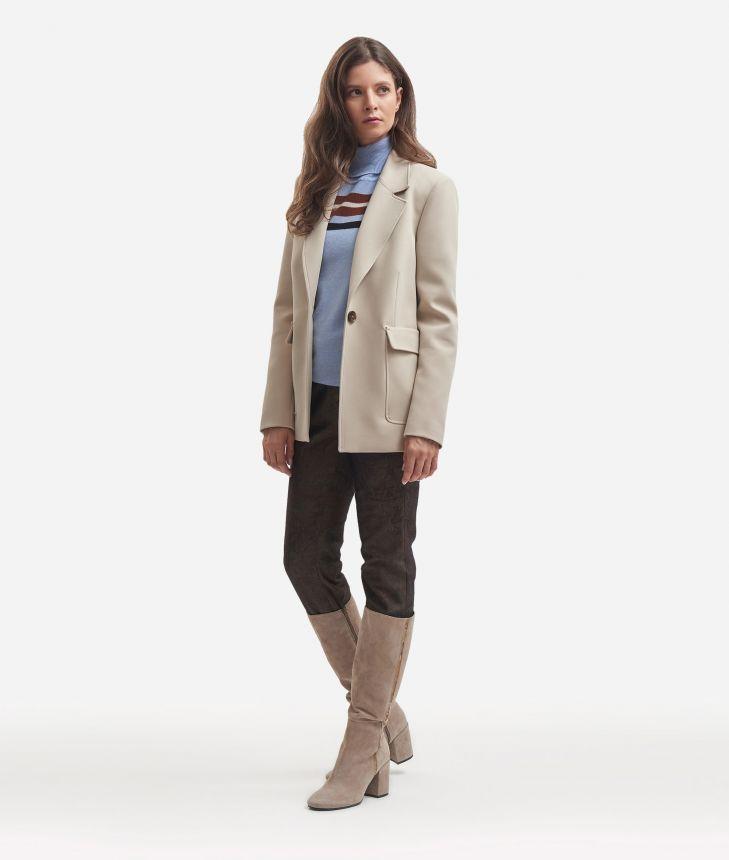 Boxy blazer in cavallery stretch,front