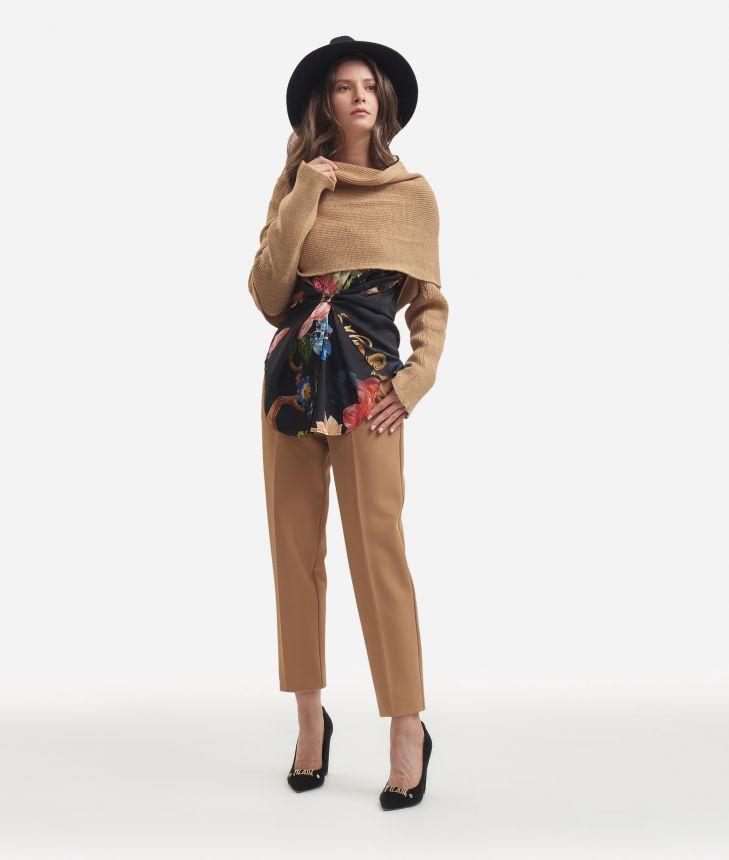 Knit shawl Beige,front