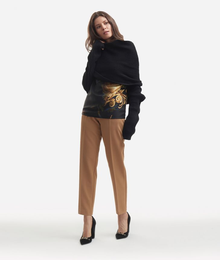 Knit shawl Black,front