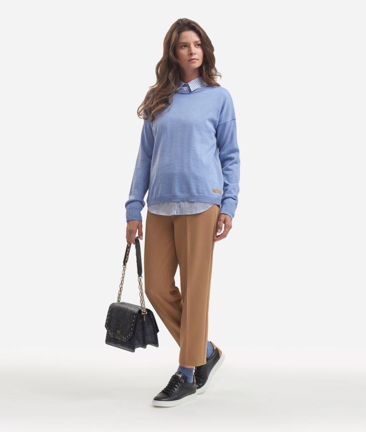 Wool blend sweater Light Blue,front