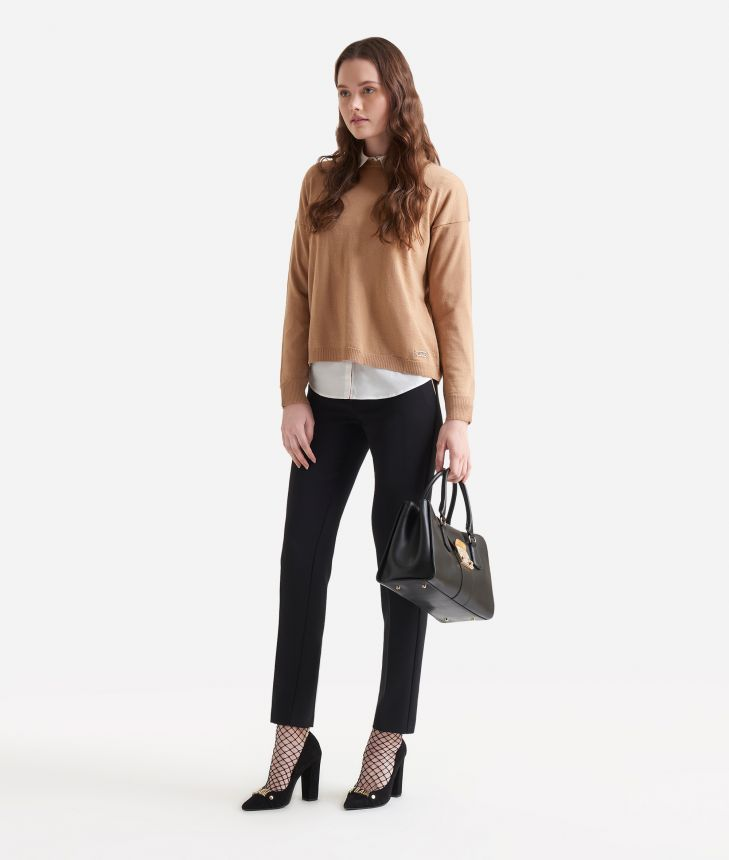 Wool blend sweater Beige,front