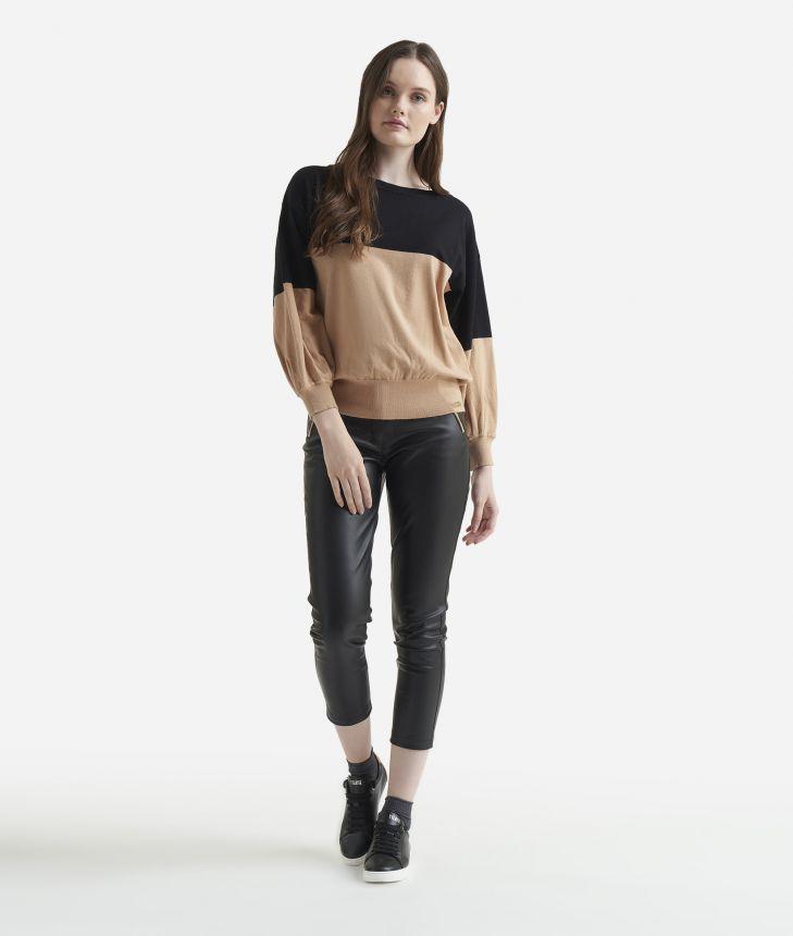 Viscose bicolor sweater Beige,front