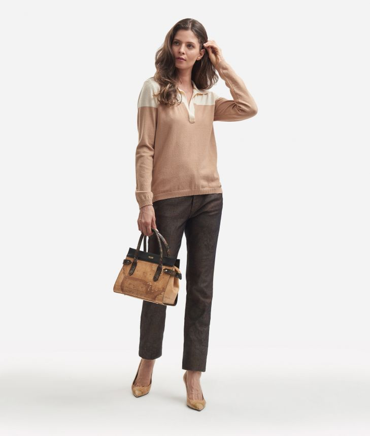 Viscose bicolor sweater Beige and White,front