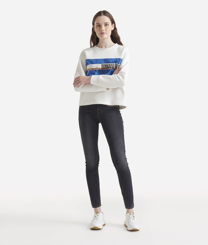 Boxy sweatshirt with paillettes White,front