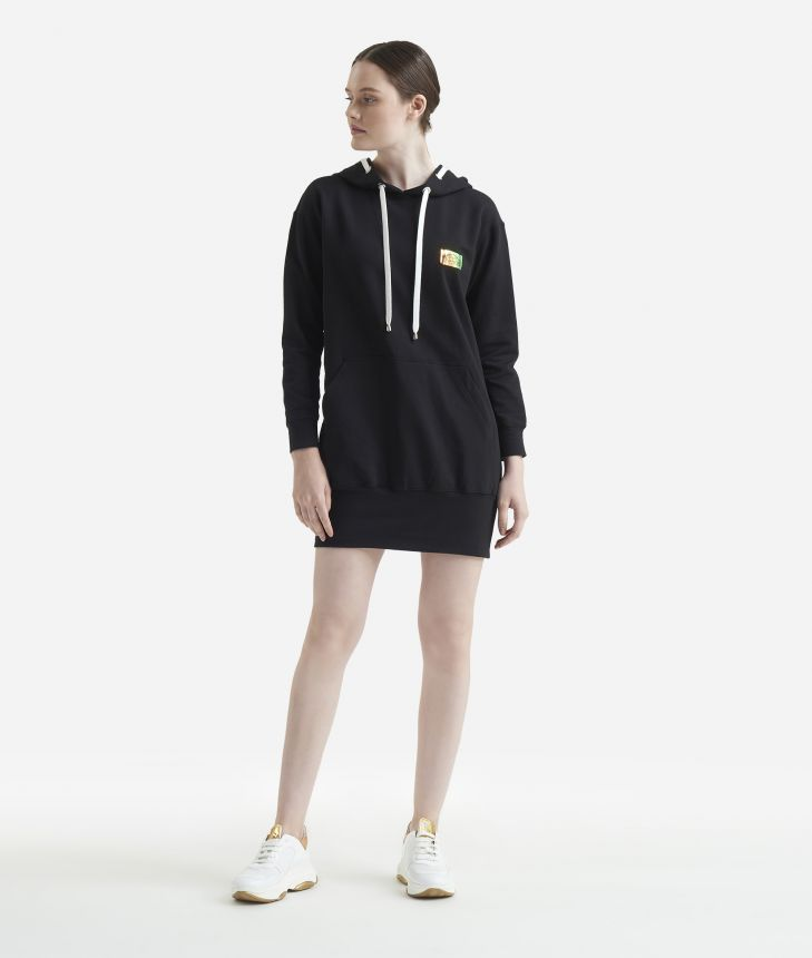 Mini fleece dress Black,front