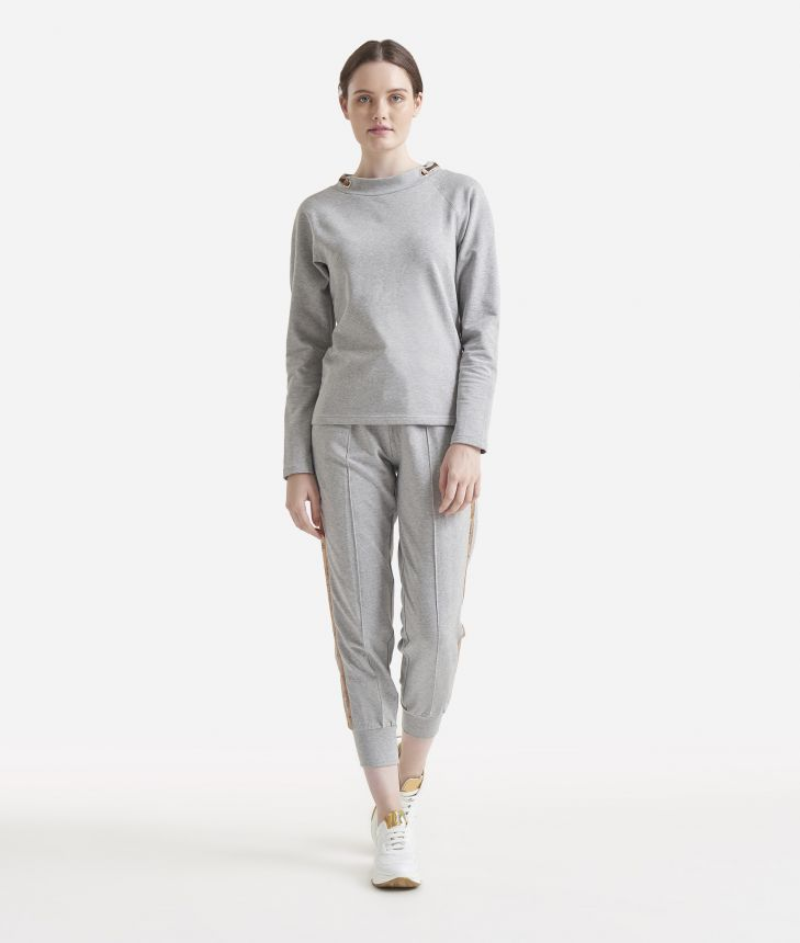 Fleece sweatshirt Grey,front
