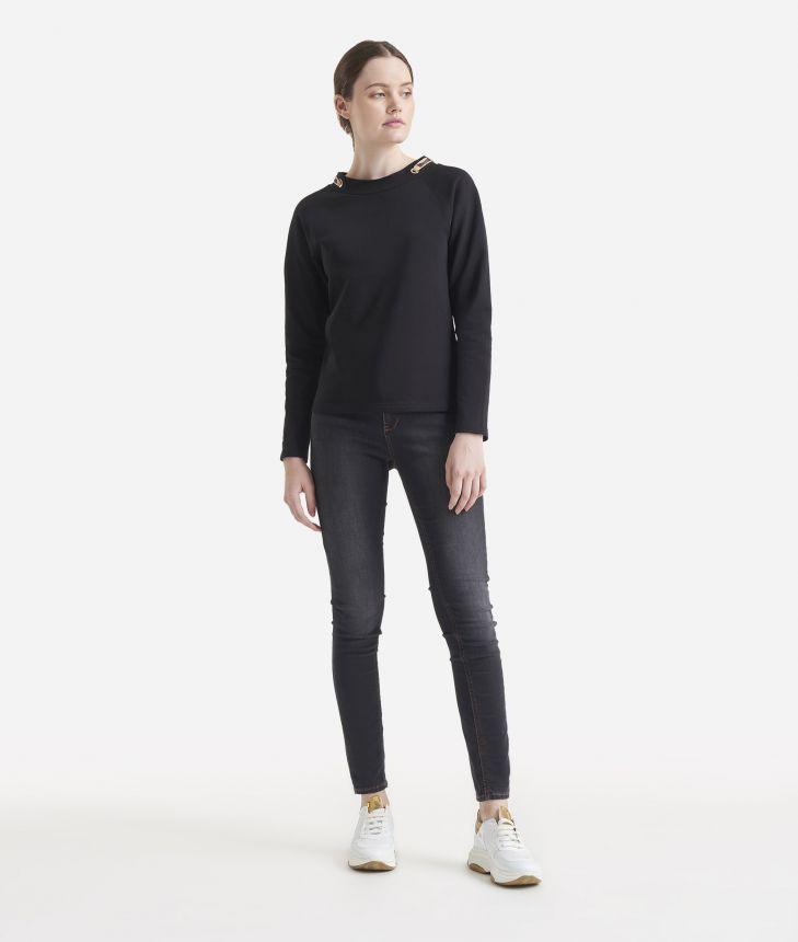 Fleece sweatshirt Black,front