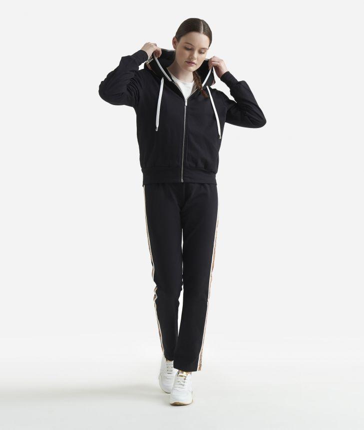 Basic sweatshirt with zip Black,front