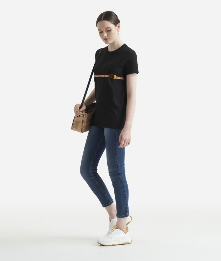 T-shirt over 1/2 manica Nera,front