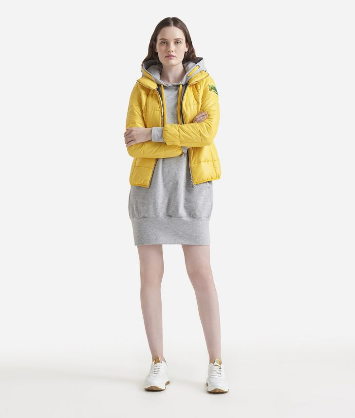 Padded nylon jacket Yellow,front
