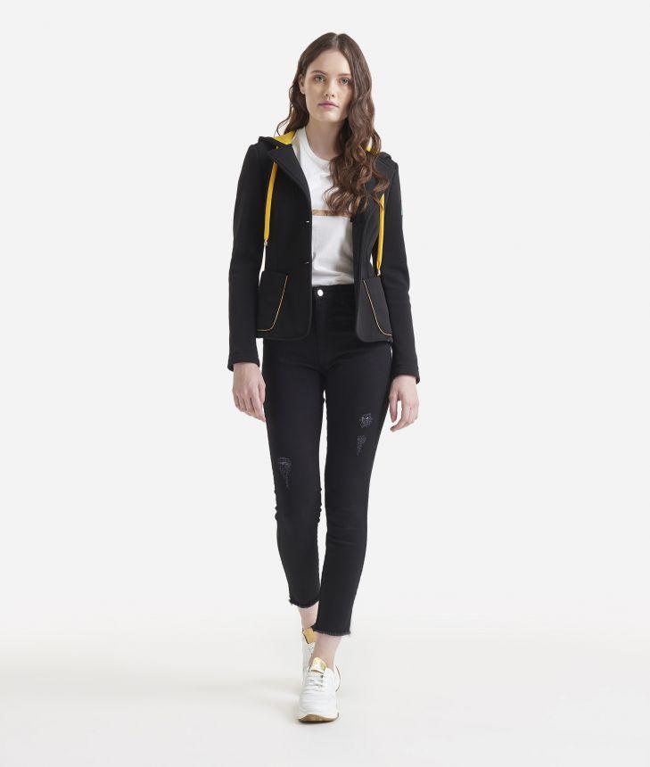 Fleece blazer with hood Black,front