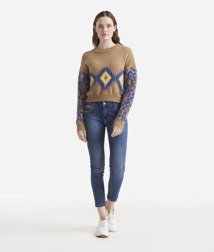 Jacquard pattern boxy sweater,front