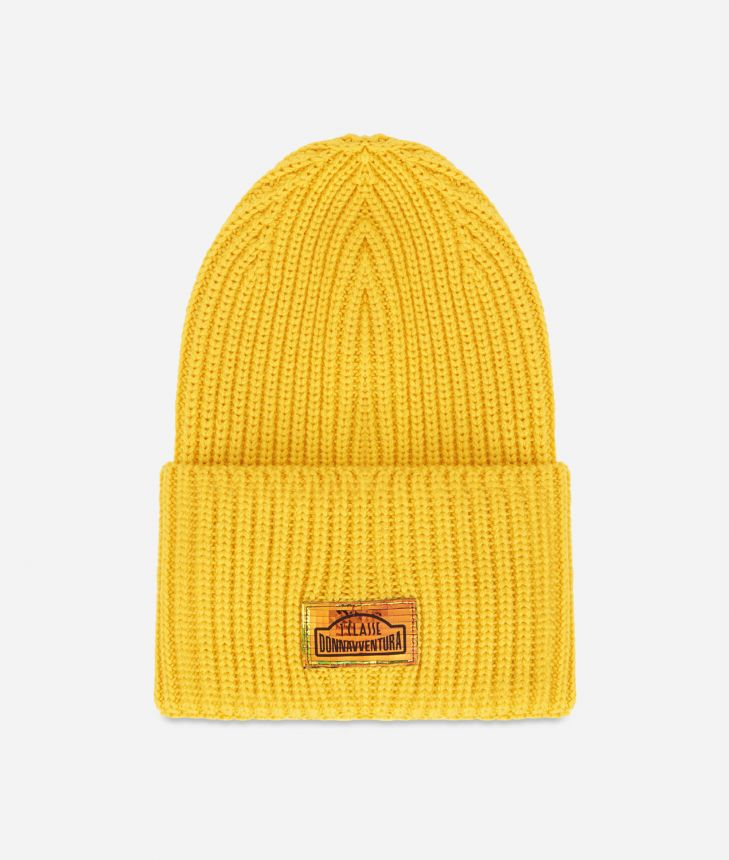 Wool blend beanie Yellow,front