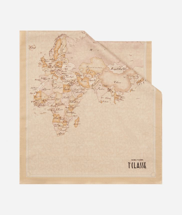New Geo Color print foulard 45 x 180 Beige,front