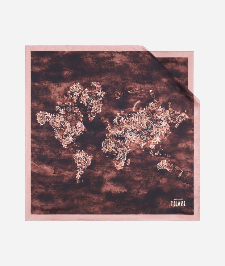 Magic Forest print foulard 70 x 70 Bordeaux,front
