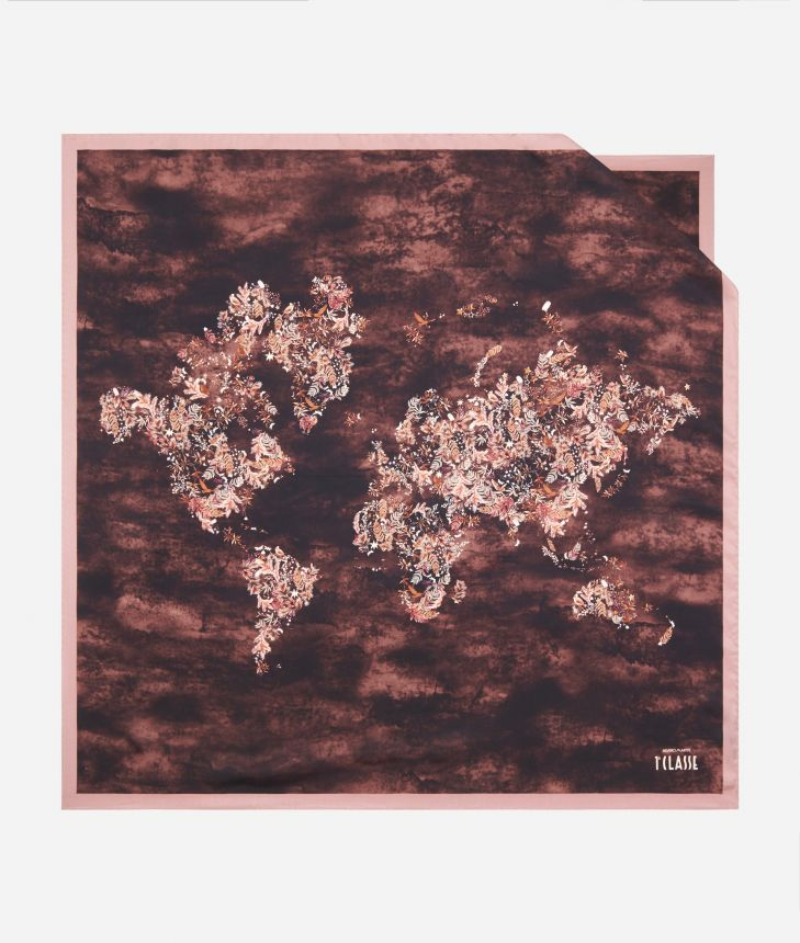 Magic Forest print foulard 90 x 90 Bordeaux,front