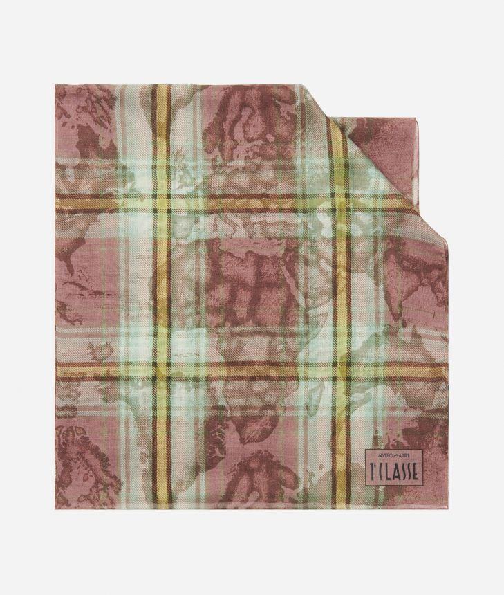 Geo Tartan print scarf45 x 180 Pink,front