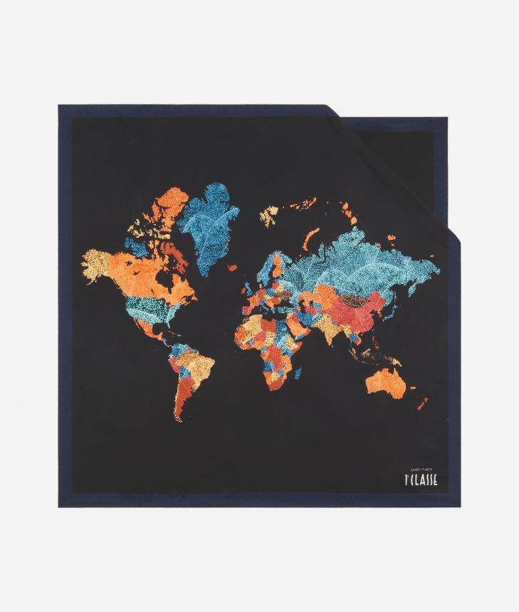 Geo Foglie print foulard 70 x 70 Black,front