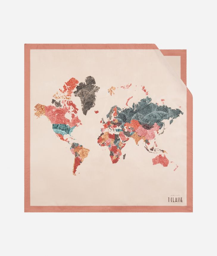 Geo Foglie print foulard 70 x 70 Pink,front