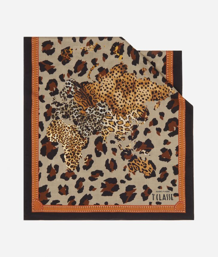 Geo Animalier print scarf45 x 180 Brown,front