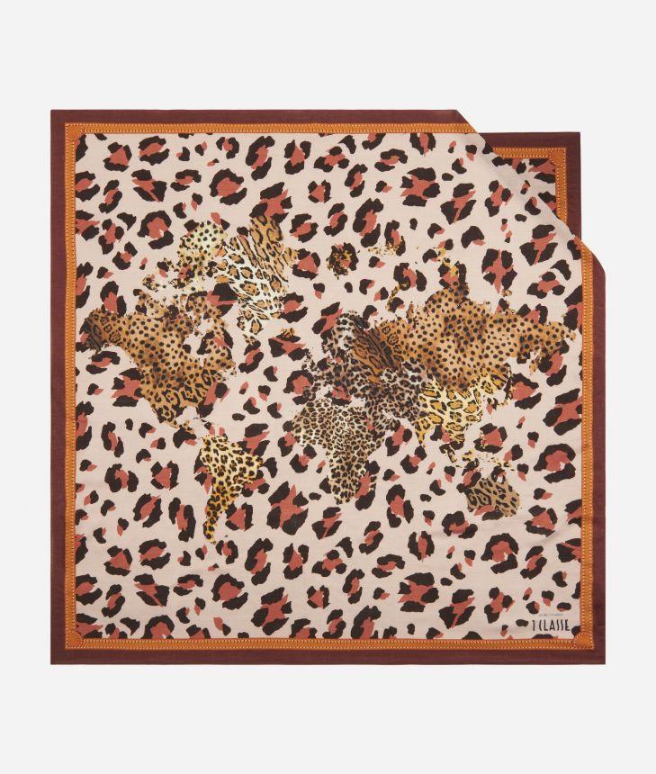 Geo Animalier print foulard 90 x 90 Pink,front
