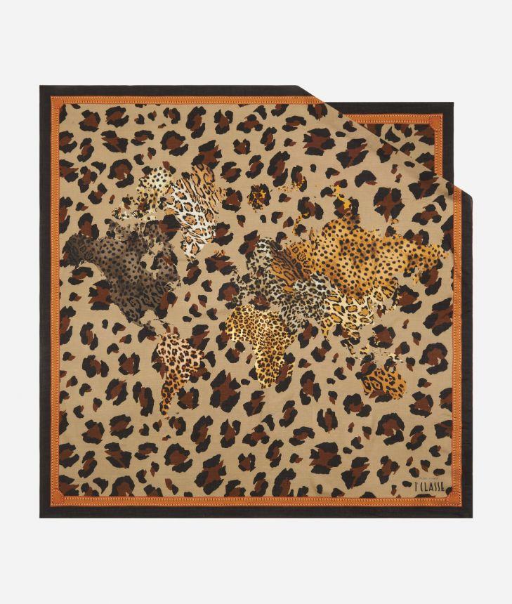 Geo Animalier print foulard 90 x 90 Brown,front