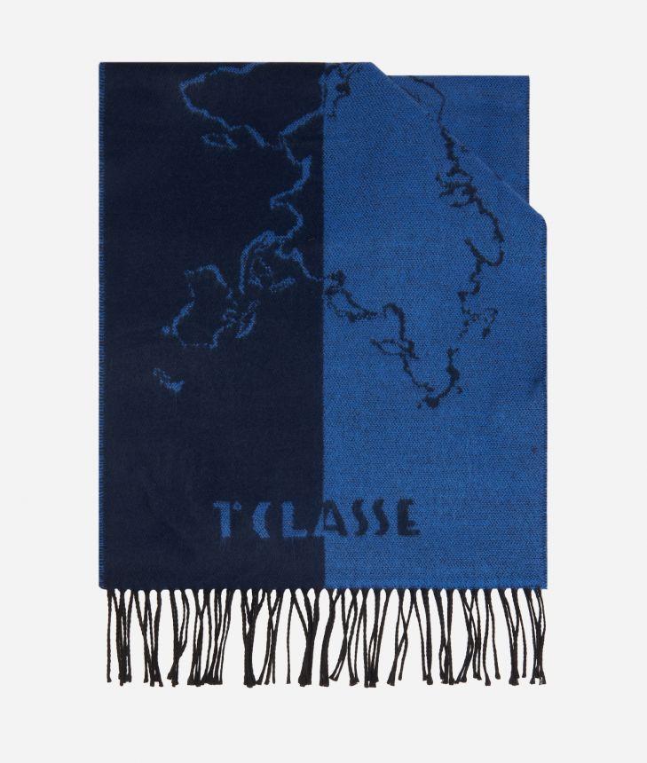 Geo Scritte print scarf40 x 200 Blue,front