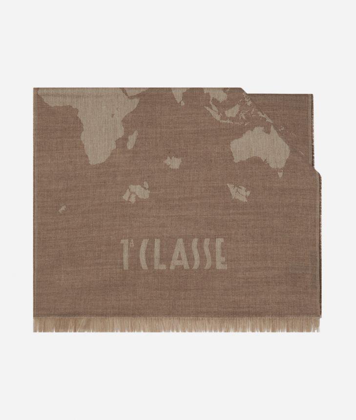 Geo Pieno print ma i scarf 55 x 180 Beige,front