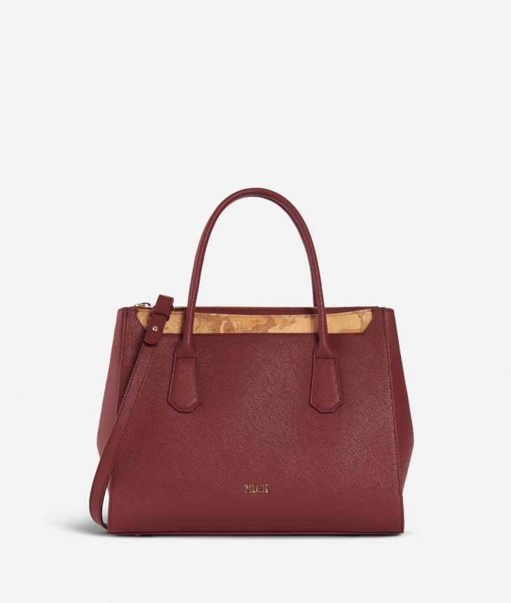 Sky City Medium Handbag Geo Bordeaux Cabernet,front