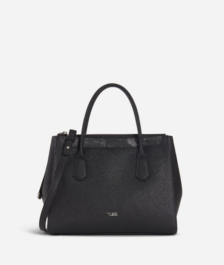 Sky City Medium handbag Black and Geo Night Black,front