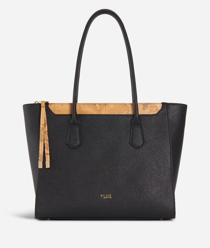 Sky City Shopping Bag Black and Geo Classic Black,front