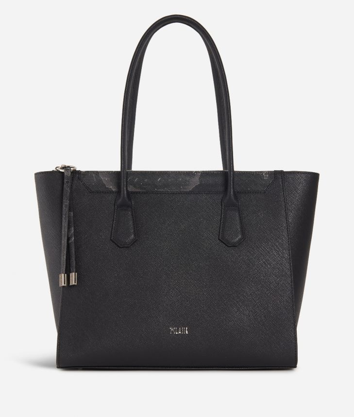Sky City Shopping Bag Black and Geo Night Black,front