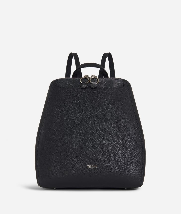 Sky City Backpack Black and Geo Night Black,front