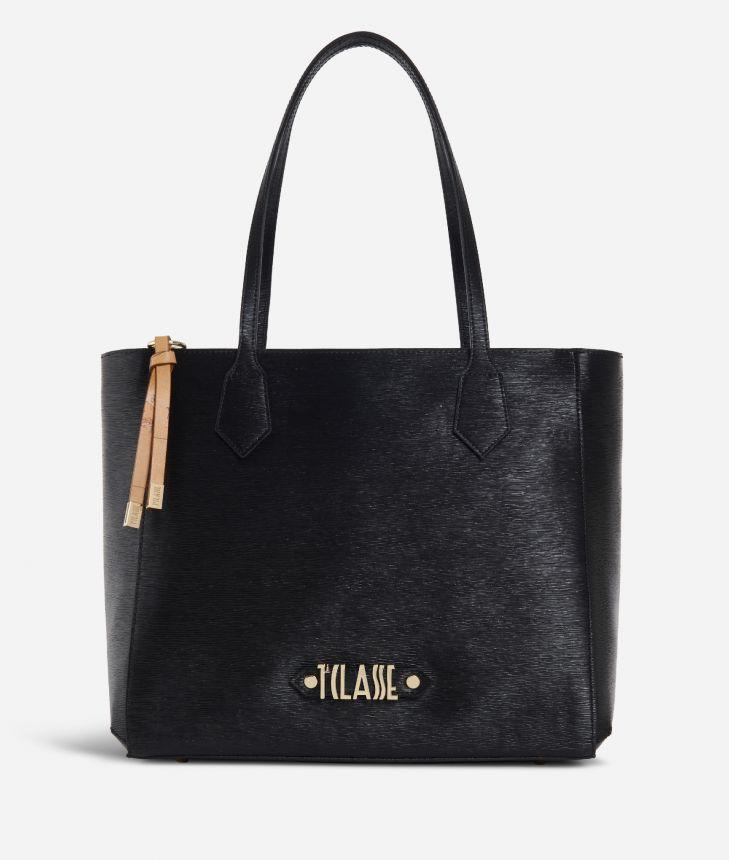 Winter Smile Shopping bag Black,front