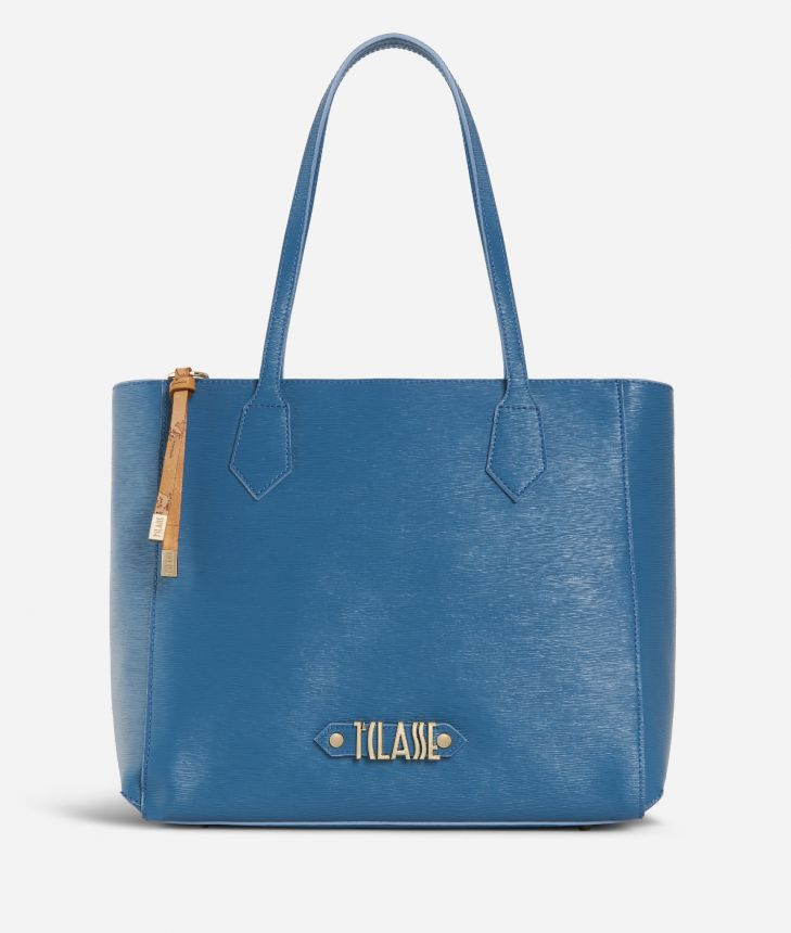 Winter Smile Shopping bag Blue,front
