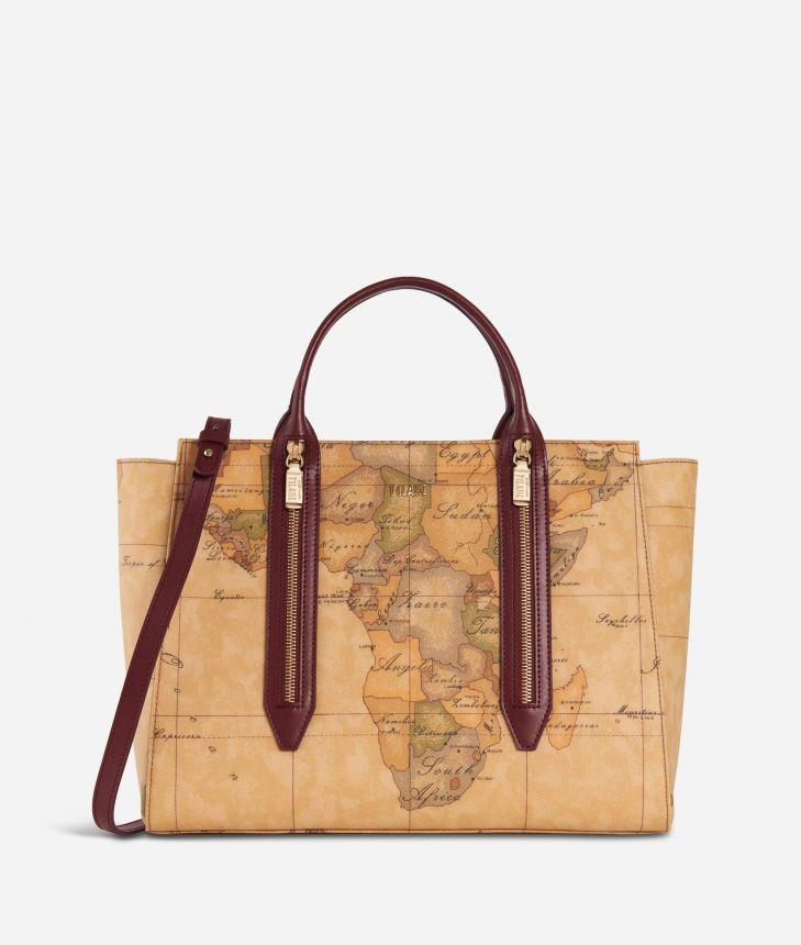 Autumn Geo Medium Handbag Cabernet,front