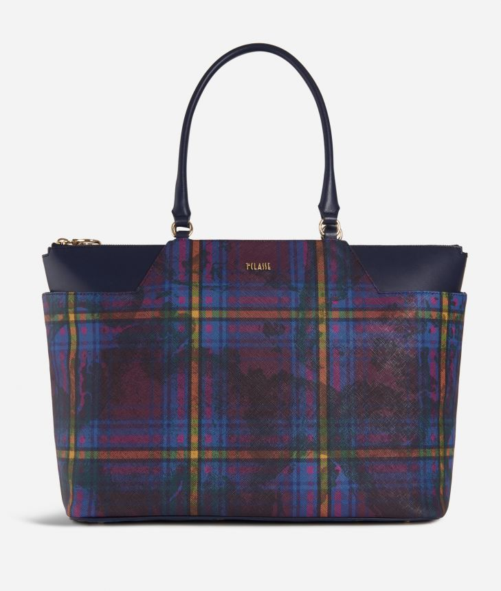 Geo Tartan Big Shopping bag Multicolor,front
